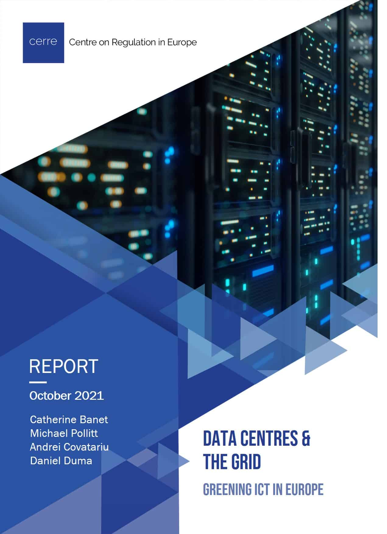 """Cover of a publication. Blue background with a photograph of a super computer in the top right corner and the title """"Data Centres and the Grid: Greening ICT in Europe"""" in the bottom right"""